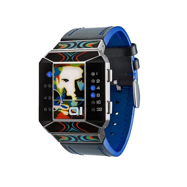 01TheOne Unisex Split Screen Art Edition Blue LED Black Leather Watch