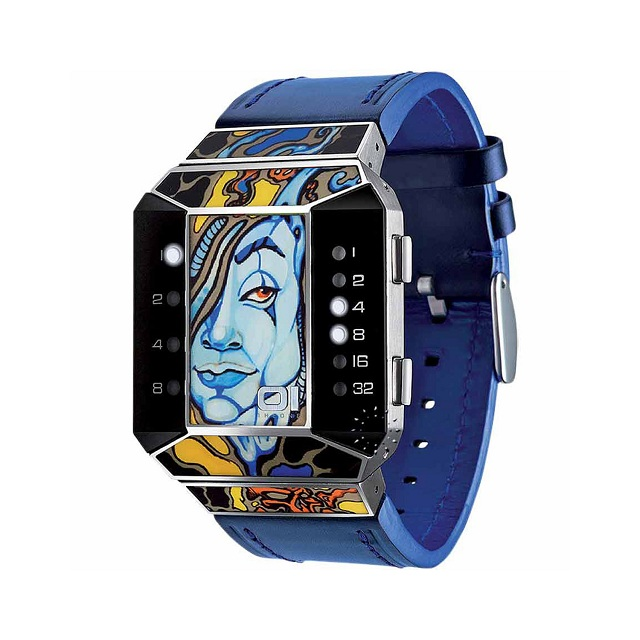 01TheOne Unisex Split Screen Art Edition White LED Blue Leather Watch