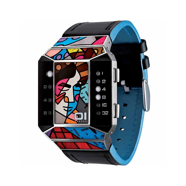 01TheOne Unisex Split Screen Romero Britto Art Blue Watch
