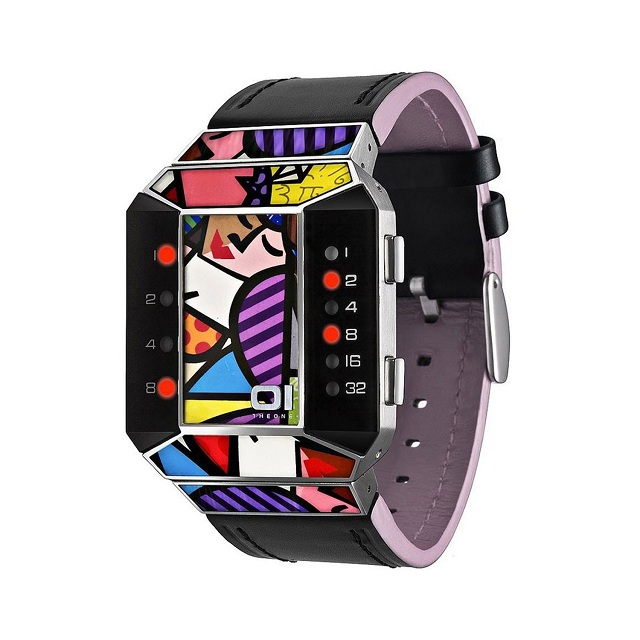 01TheOne Unisex Split Screen Romero Britto Art Pink Watch