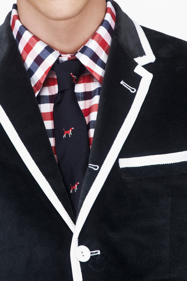 Thom Browne Navy Silk Beagle Pattern Tie