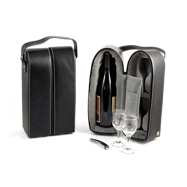 Bey Berk International BS928 Black Leather 2 Bottle Wine Caddy