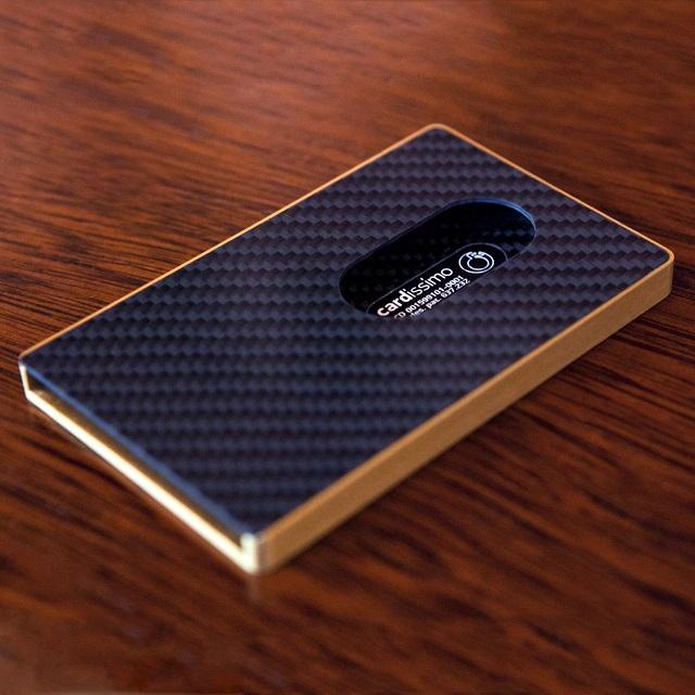 Cardissimo Carbon Fibre Card Case Gold_3