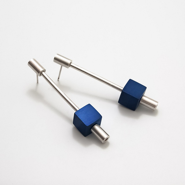 Filip Vanas / Aluminum & Silver Earrings // Cubes