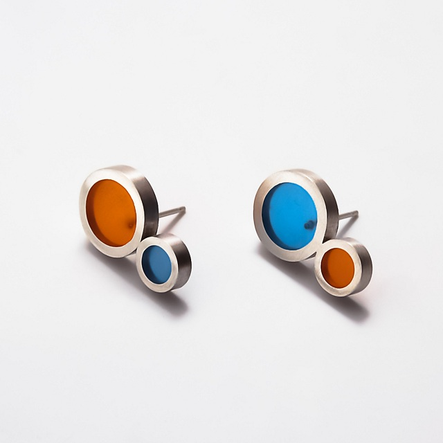 Filip Vanas / Stud Earrings w/ Sterling Silver & Epoxy Resin
