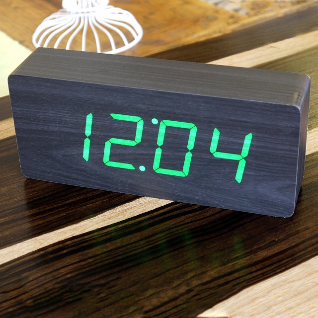 Gingko LED Slab Alarm Click Clock_3