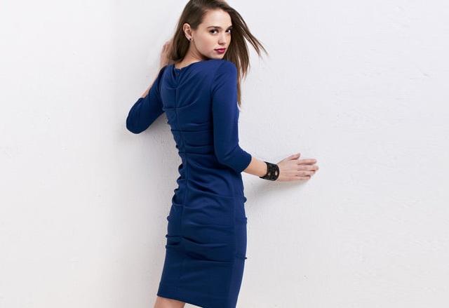Nicole Miller Blue Ruched Ponte Knit Sheath Dress