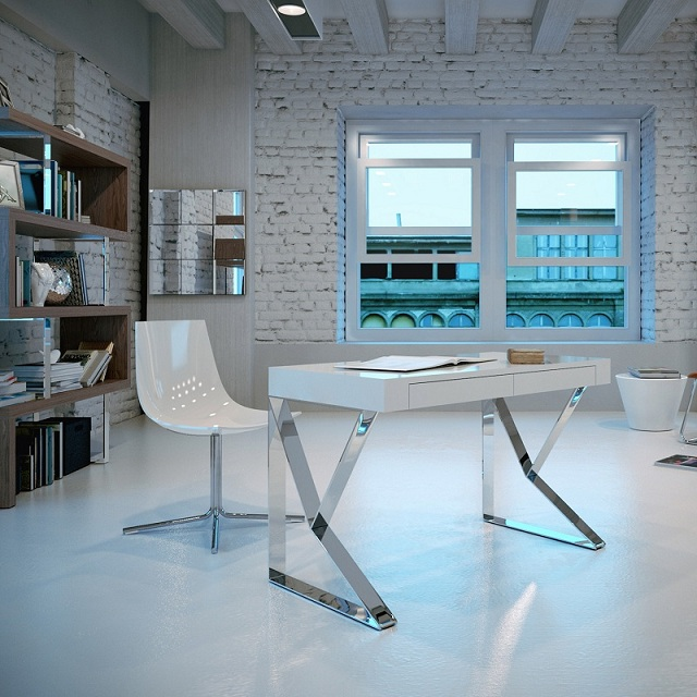 Modloft Houston Desk - White Lacquer