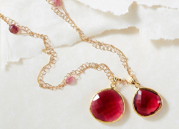 Coralia Leets Cranberry Quartz Mother & Daughter Necklace