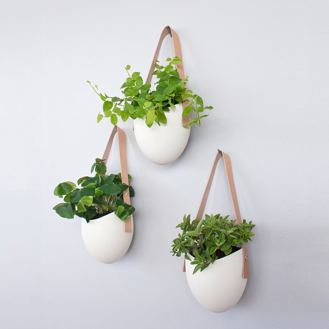 Farrah Sit Porcelain and Leather Planter Set of 3