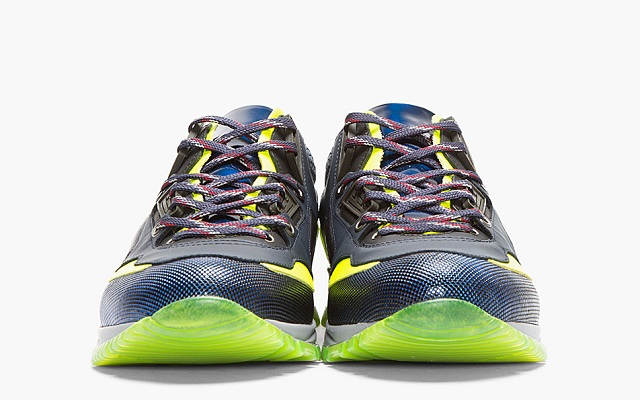 Lanvin Black Leather Neon-trimmed Trainers_4
