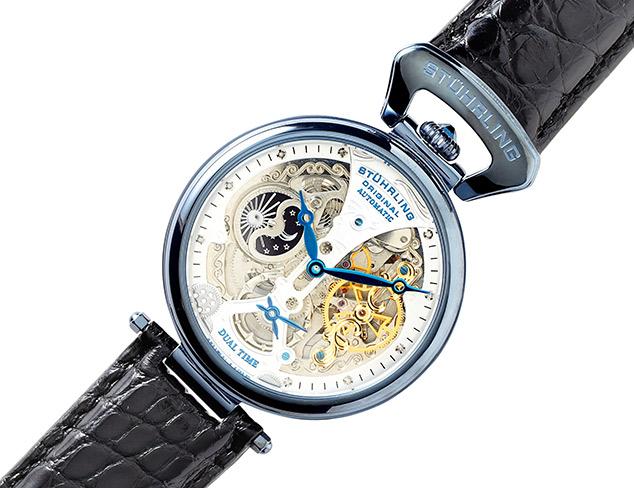 Stuhrling Original Emperor's Grand DT Mechanical Skeleton Dual Time Watch
