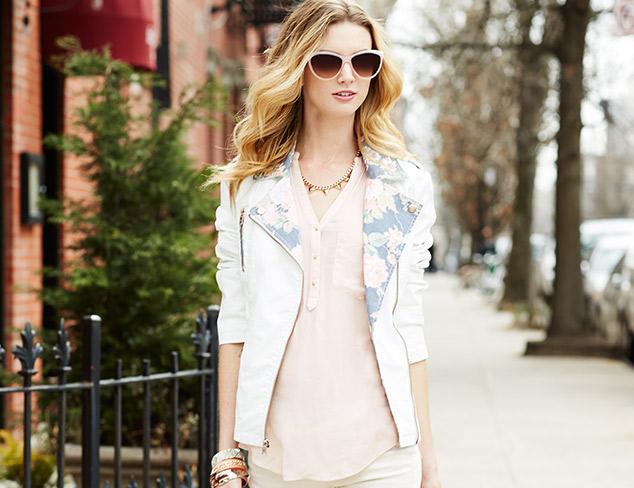 Jessica Simpson Floral Trim Faux Leather Moto Jacket