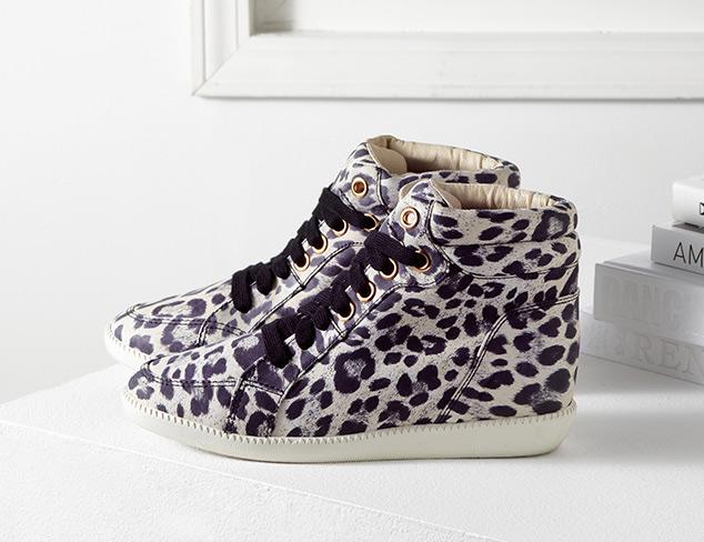 Schutz Leopard Nylon Dagny Wedge Sneakers