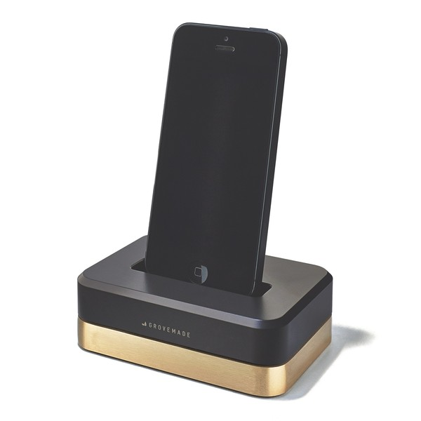GROVEMADE Limited Edition iPhone Dock in Brass Black_1