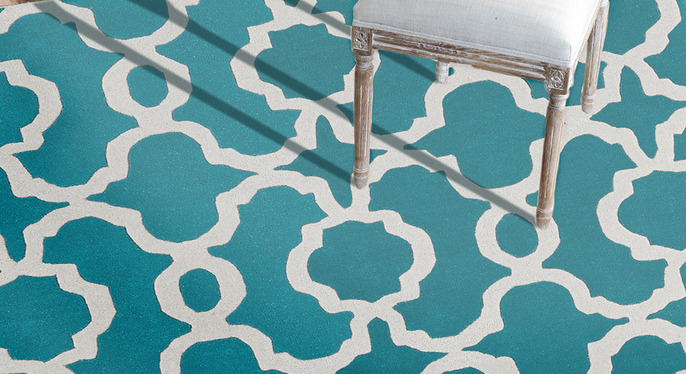 Trend Alert: Teal and Ivory Rugs at Gilt
