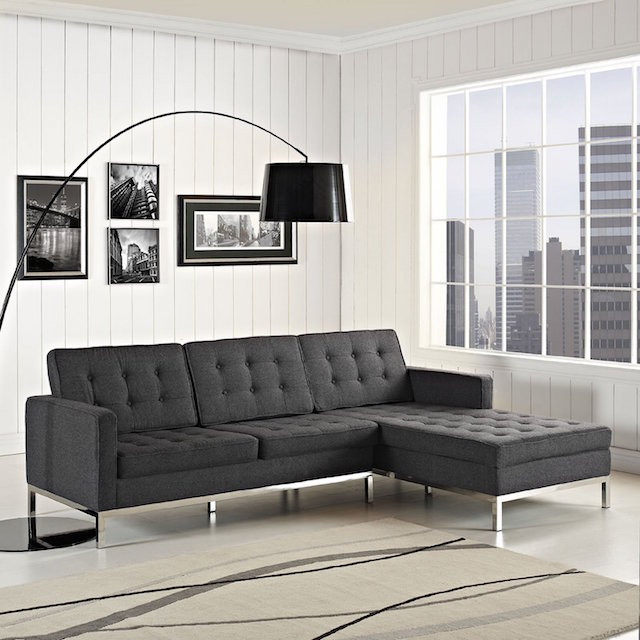 LexMod Florence Style Right-Arm Corner Sectional Wool Sofa