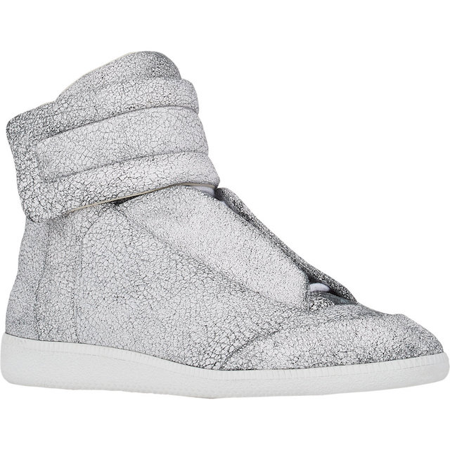 Maison Martin Margiela Cracked Leather Ankle-Strap Sneakers_1
