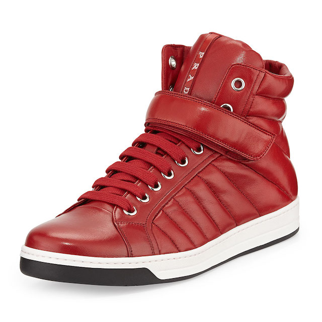 Prada Quilted Nappa Leather High-Top Sneakers_1