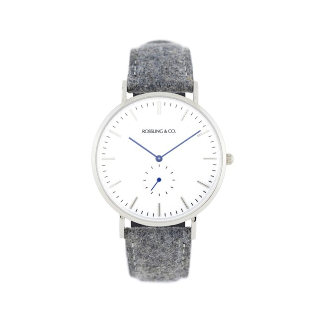Rossling & Co. Classic Ultra-thin Quartz Watches in Silver & White with Blue Hands