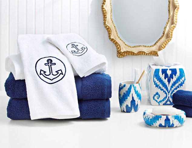 Off to the Yacht Club: Navy & White Bath Décor at MYHABIT