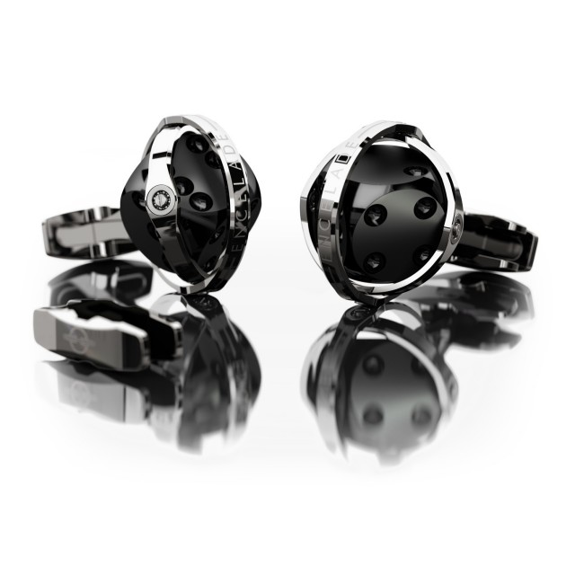 Encelade 1789 Dice Cufflinks + Clip // Dark Stainless Steel + Black PVD