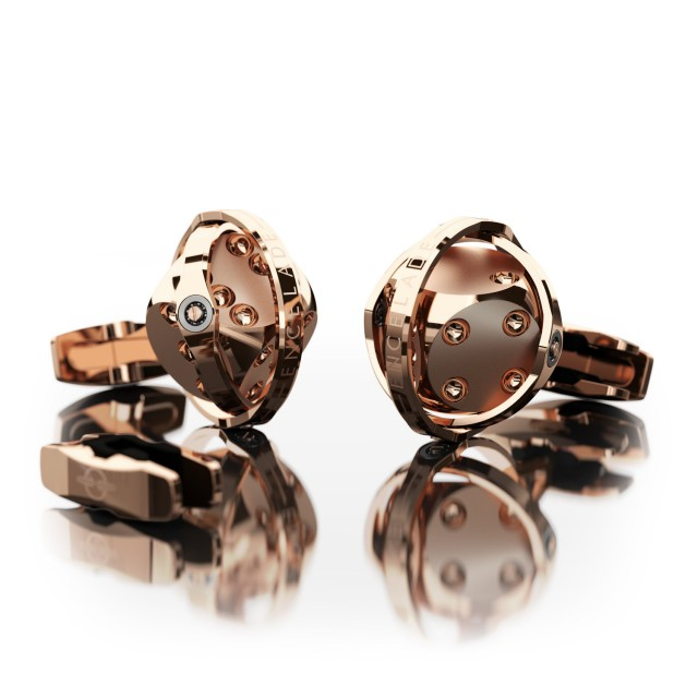 Encelade 1789 Dice Cufflinks + Clip // Rose Gold + Rose Gold PVD