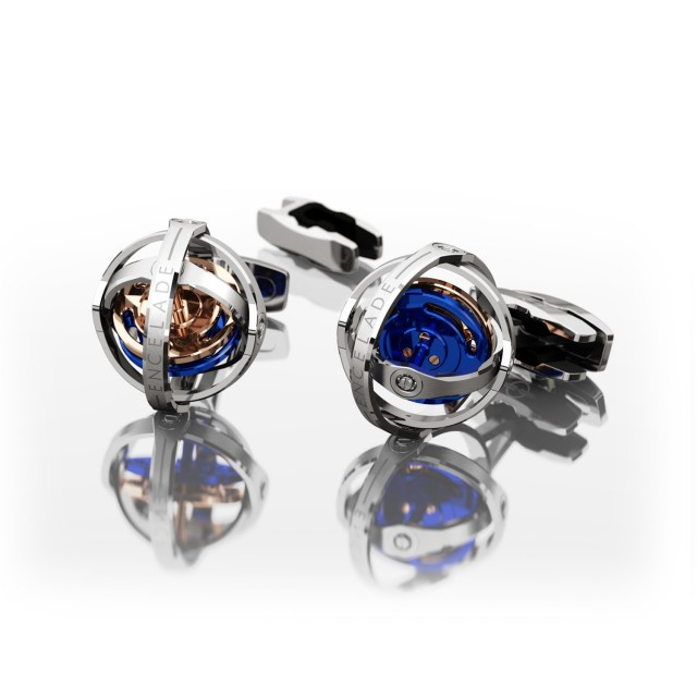 Encelade 1789 Gyro Cufflinks + Clip // W Motor Blue + Red Gold