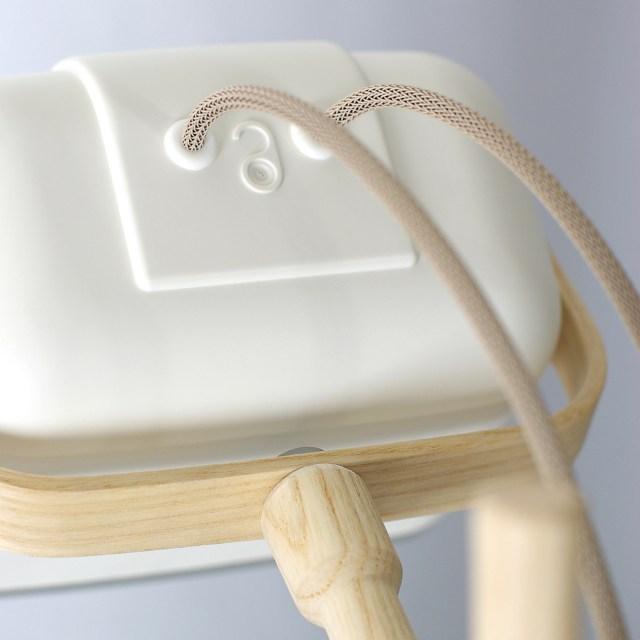 SWAB Design Mob Wood Table Lamp in White & Beige Cord
