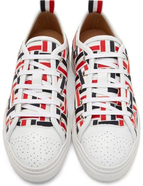 Thom Browne Tri-Color Grosgrain Basketweave Sneakers_5