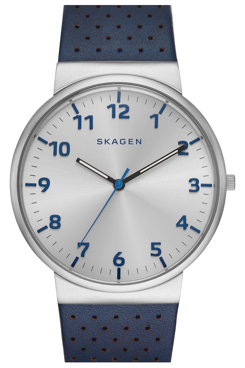 Skagen Ancher Perforated Leather Strap Watch