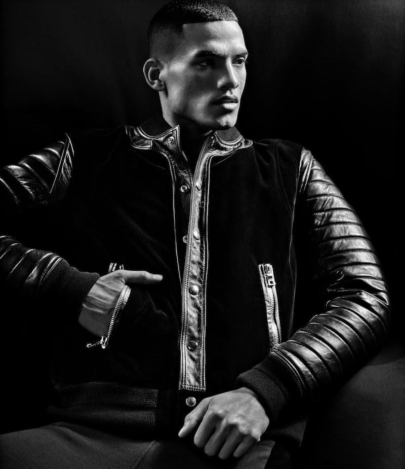Balmain Velvet & Leather Baseball Jacket