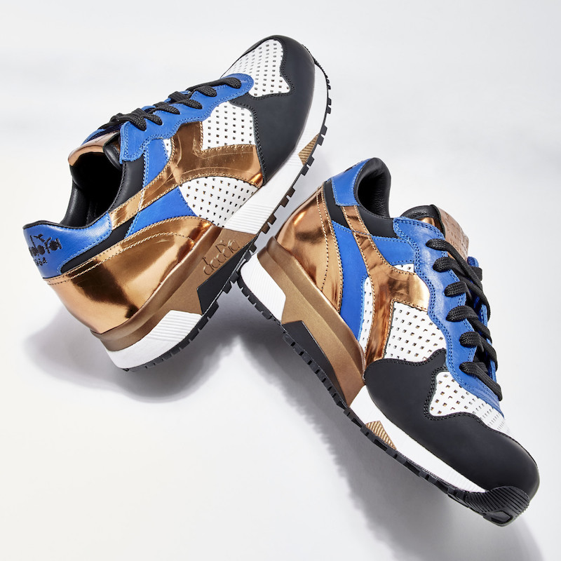 BNY Sole Series Diadora Perforated-Detail Leather Sneakers_Blue