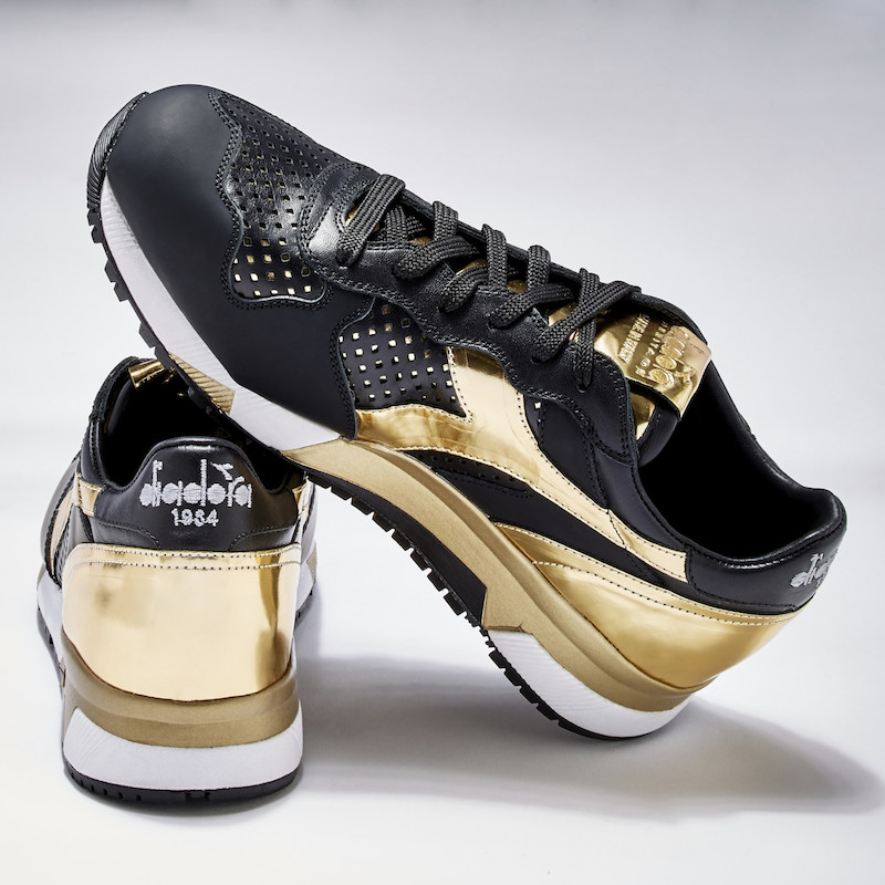 BNY Sole Series Diadora Perforated-Detail Leather Sneakers_Gold