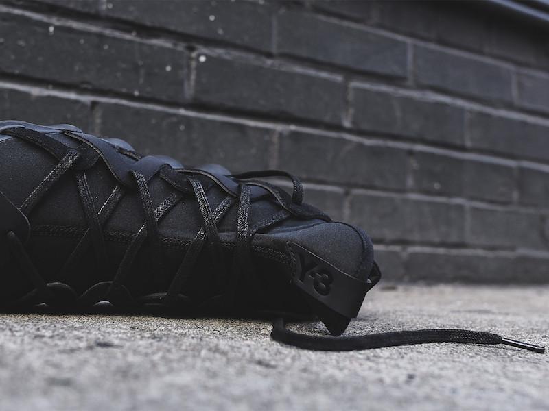 Y-3 Yohji Yamamoto Kyujo High Sneakers in Triple Black_7