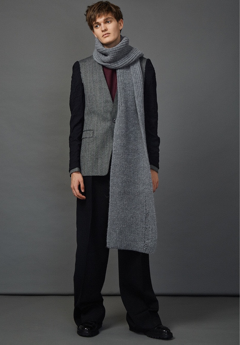 Lanvin Deconstructed Inside-out Sleeved Micro Tweed Blazer Jacket
