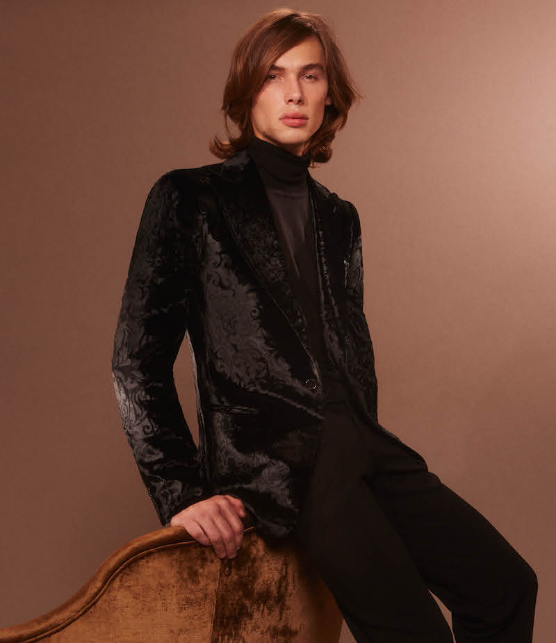 Cifonelli Brocade Burn Out Velvet Single Button Sportcoat