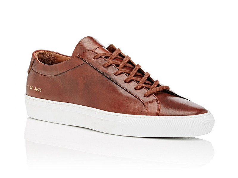 BNY Sole Series x Common Projects Brown Achilles Leather Low-Top Sneakers