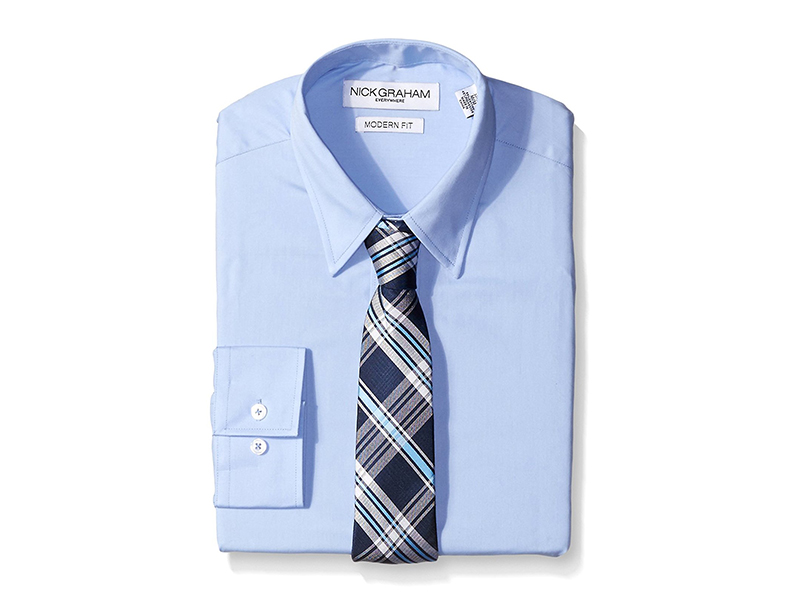 Nick Graham Everywhere Light Blue Solid Dress Shirt with Navy Tie