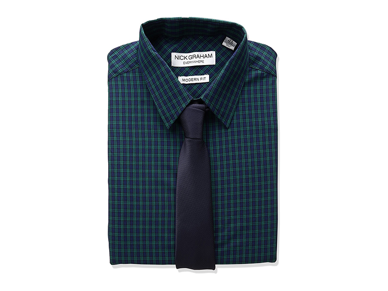 Nick Graham Everywhere Plaid Dress Shirt with Solid Tie