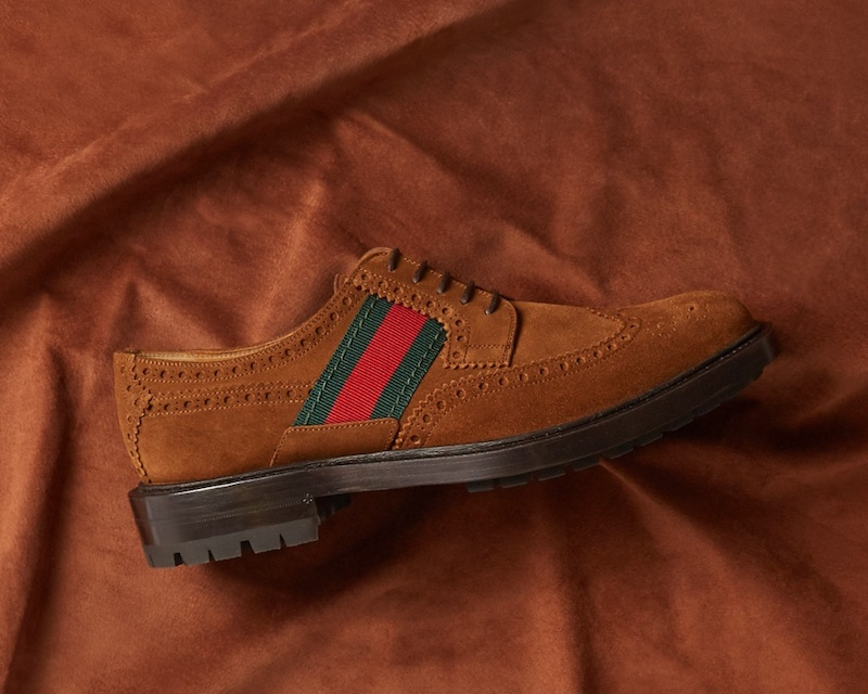 Gucci Web-Panelled Suede Brogues
