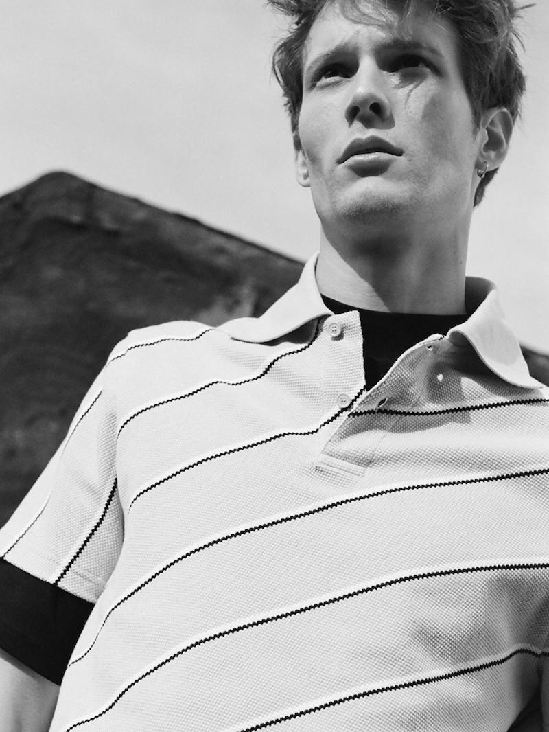 Balenciaga Blue Striped Cotton-Piqué Polo Shirt