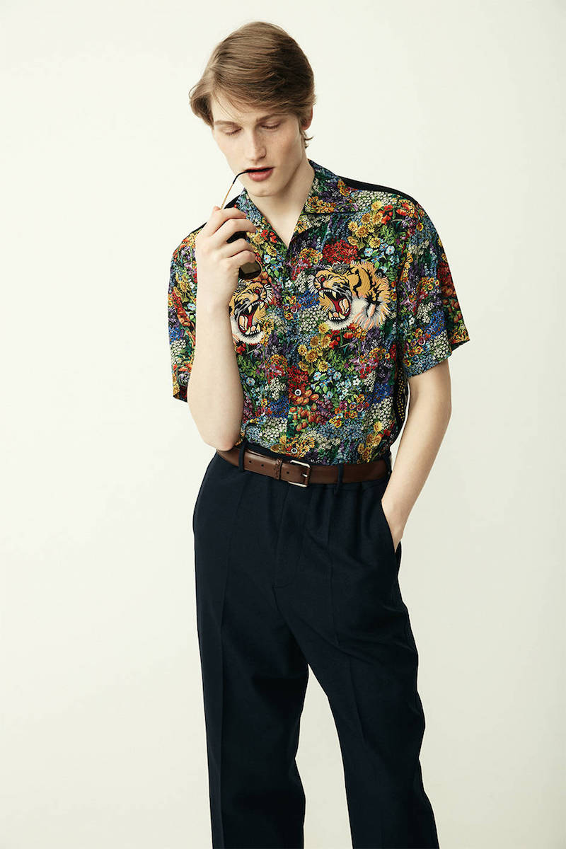 Gucci Printed Silk Crepe Bowling Shirt with Tiger