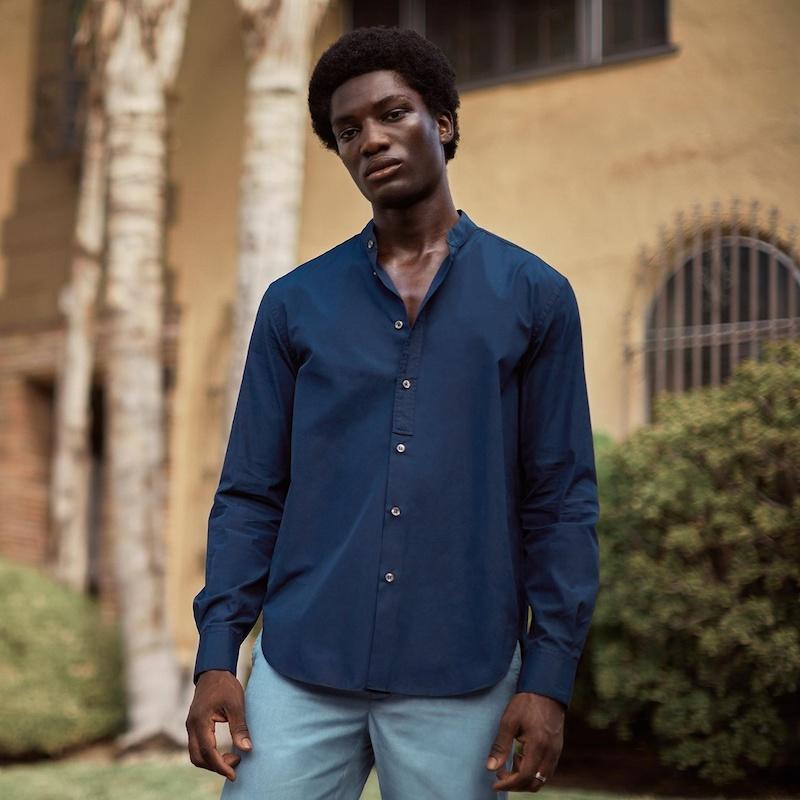 Helbers Band-Collar Cotton-Poplin Shirt