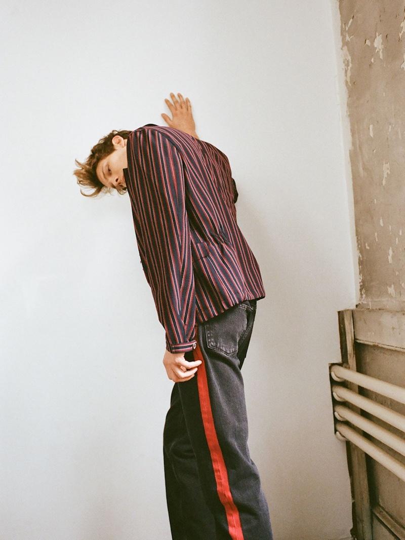 Wooyoungmi Point-Collar Striped Blazer