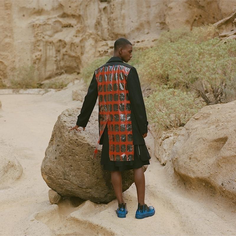 Commes des Garçons PVC Print-Back Wool Coat
