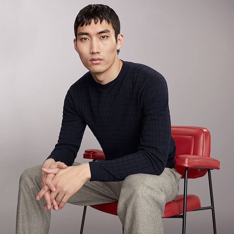 Giorgio Armani Square-Knit Wool-Blend Sweater