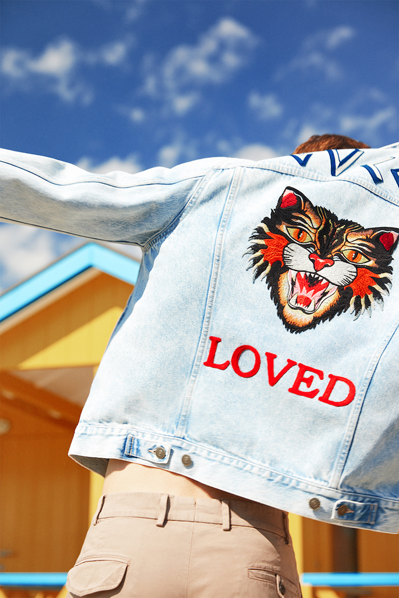 Gucci Cat Patch Stone Washed Denim Jacket