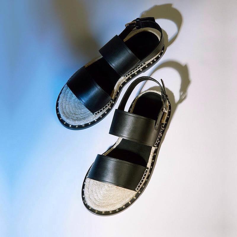 Valentino Rockstud Espadrille and Leather Sandals