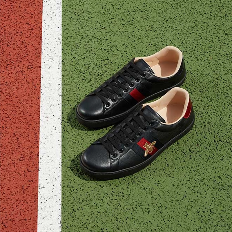 Gucci New Ace Bee-Embroidered Leather Trainers